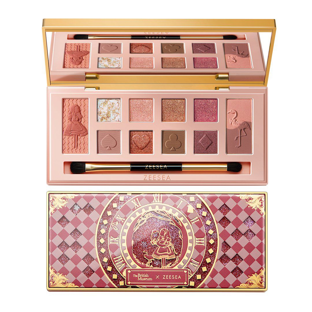 Eyeshadow palette in pink and purple hues with the checkered palette cover displayed with Alice and the flamingo in the center