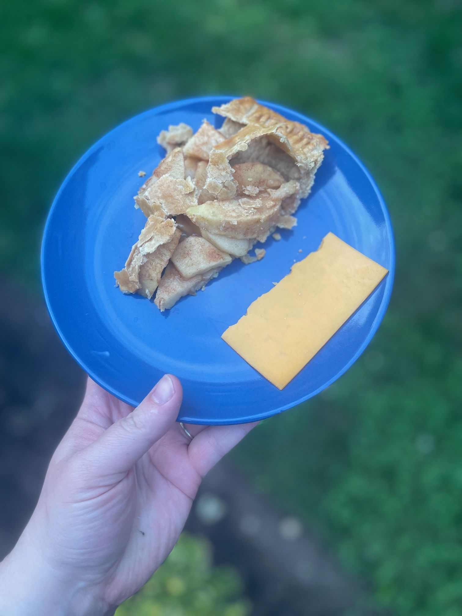 Slice of apple pie with slice of cheddar cheese on blue plate