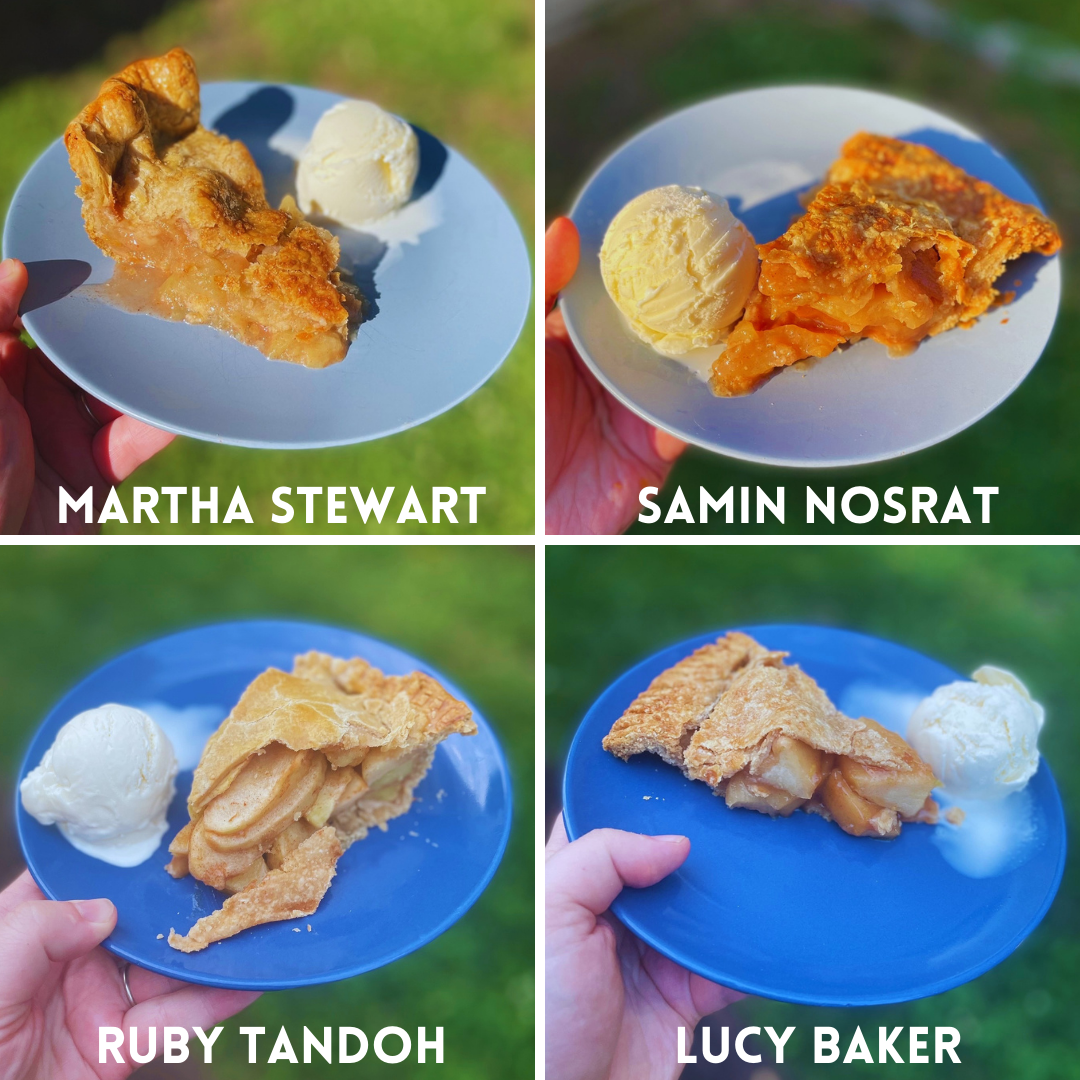 Four different slices of apple pie with scoops of ice cream on blue plates