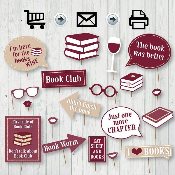 book club photo booth props