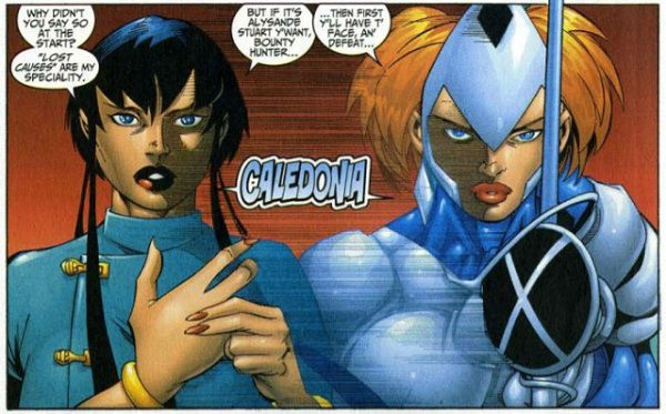 """Image of Caledonia from """"Fantastic Four Vol. 3 #20"""" written by Chris Claremon and art by Salvador Larroca"""