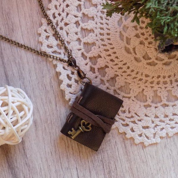 Coffee Brown Leather Vintage Miniature Journal Pendant