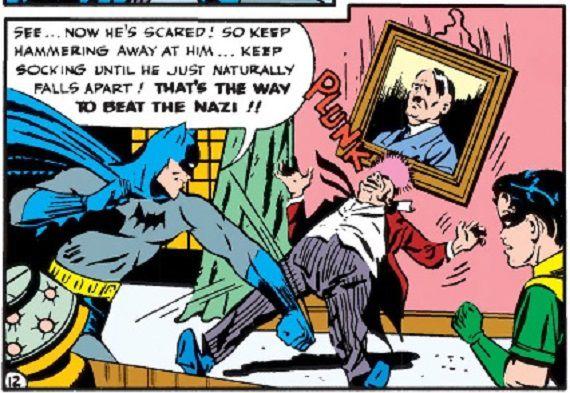panel from Detective Comics #78; Batman punching Nazi Baron von Luger