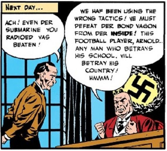 panel from Detective Comics #78; Nazi Baron von Luger discussing tactics with Nathan Hale