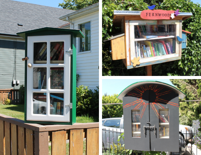 Collage of three Little Free Libraries