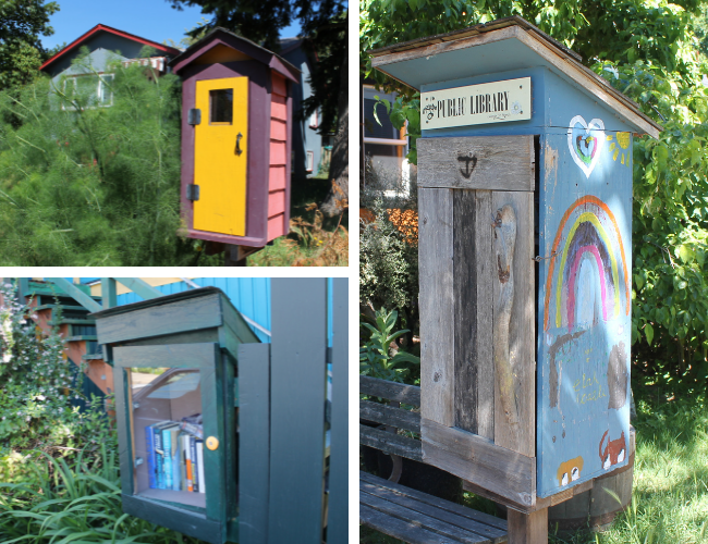 3 photos of Little Free Libraries