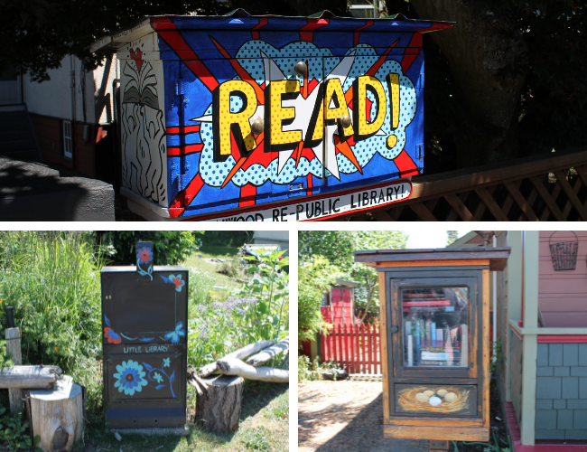 Three photos of Little Free Libraries, including painted ones