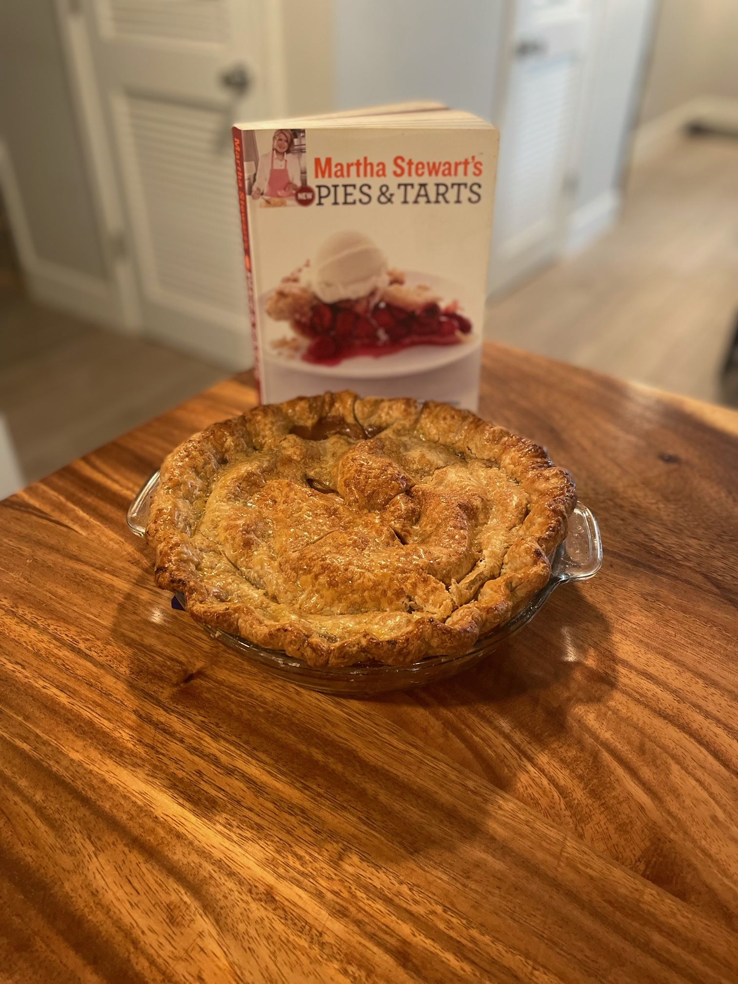 Photo of apple pie with Martha Stewart New Pies and Tarts cookbook