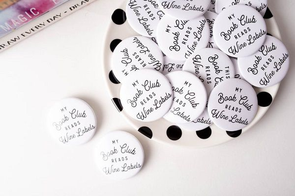 My Book Club Reads Wine Labels Pin