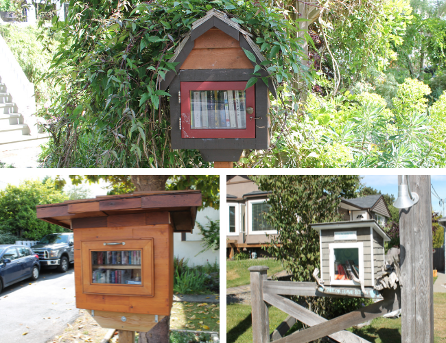 Three photos of Little Free Libraries that look professional and well-maintained