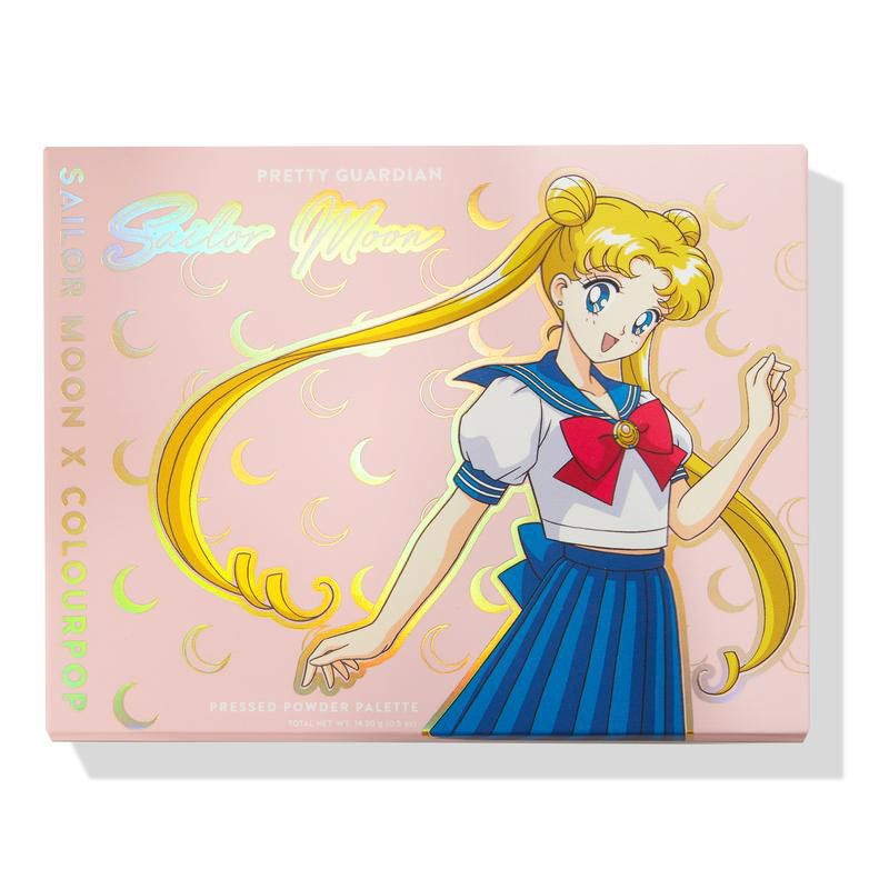The front cover of the Sailor Moon eyeshadow palette with Sailor Moon on the cover.