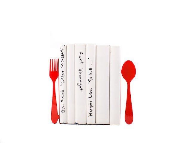 Image of red fork and knife bookends