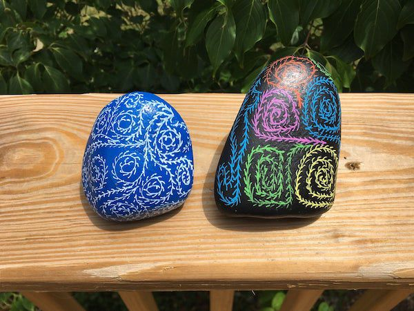 Image of painted river rock bookends