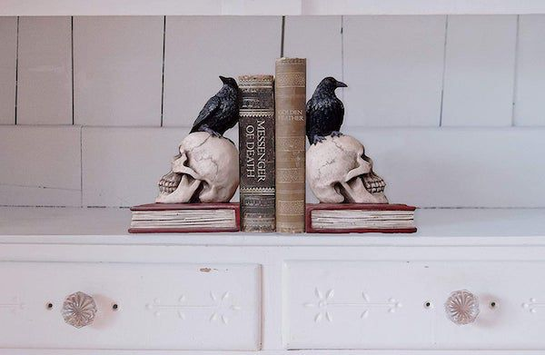 Image of skull and raven bookends
