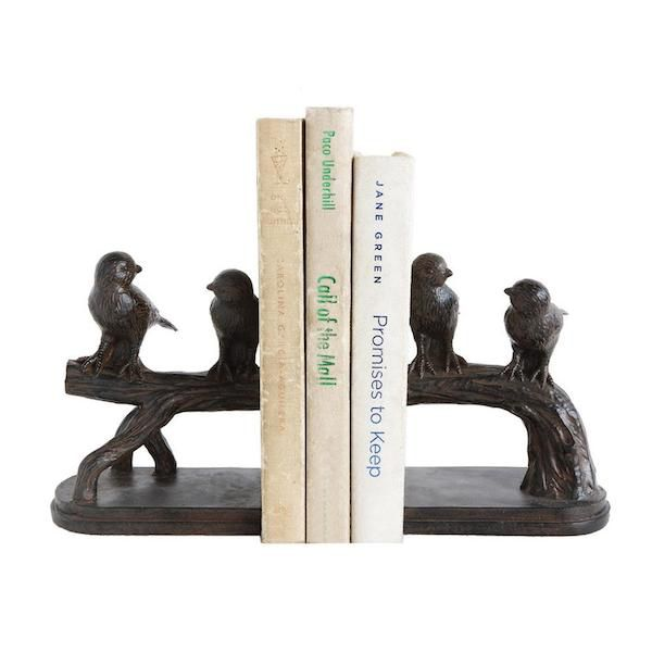 Image of wooden bookends with birds on a branch