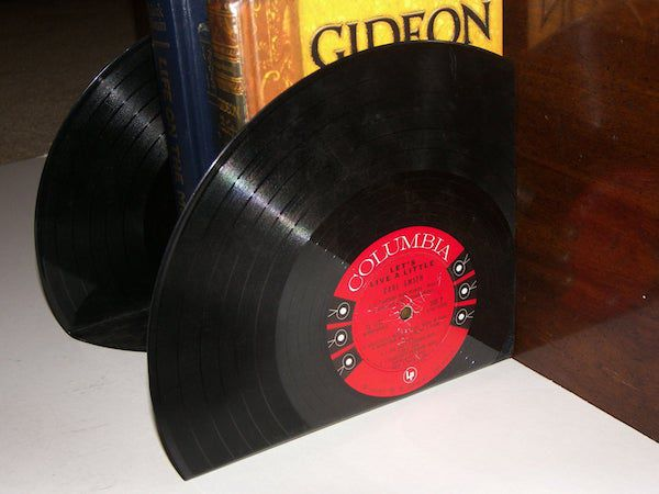 Image of vinyl record bookends