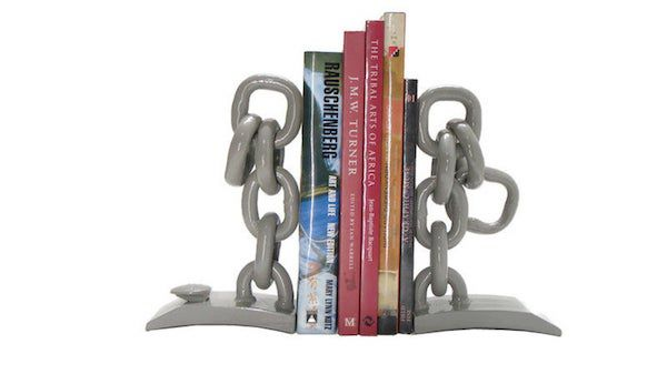 Image of steel chain link bookends