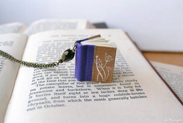 Violet flowers Book Necklace