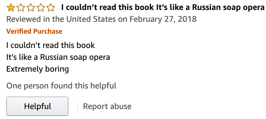War and Peace Amazon 1 star review