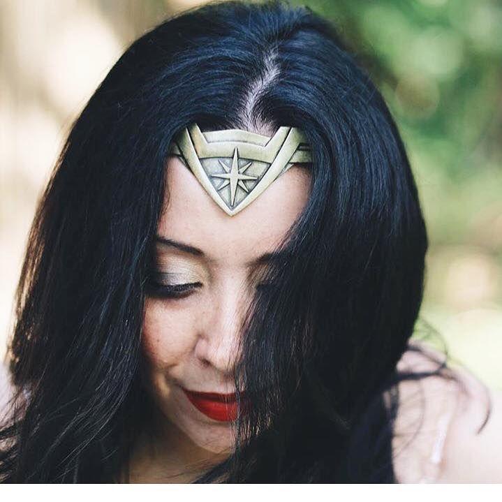 Close up of Aurora dressed as Wonder Woman