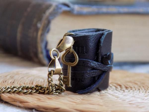 all black leather journal necklace