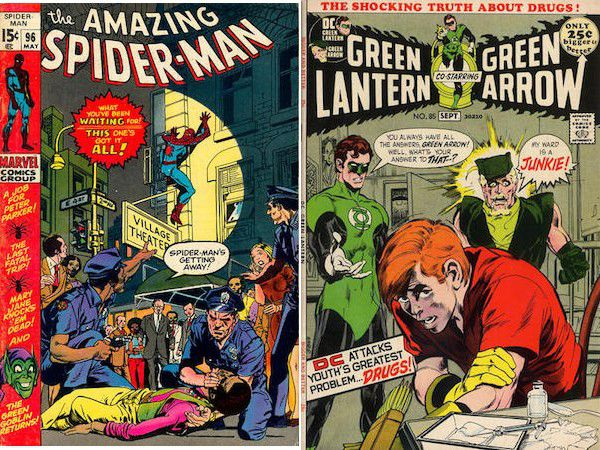 side by side cover images of The Amazing Spider-Man #96-98  and Green Lantern/Green Arrow #8