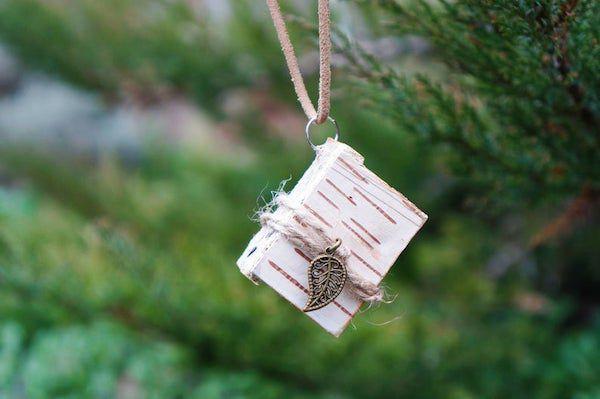 birch bark mini book pendant necklace