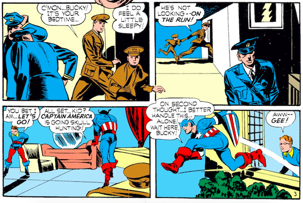 panel from Captain America Comics #1; panel is from Case #4: Captain America and the Riddle of the Red Skull; Bucky and Steve Rogers spying on Nazis
