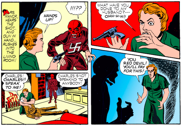 panel from Captain America Comics #1; panel is from Case #4: Captain America and the Riddle of the Red Skull; Mrs. Manor confronting the Red Skull