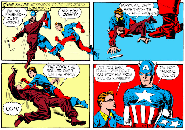 panel from Captain America Comics #1; panel is from Case #4: Captain America and the Riddle of the Red Skull; Bucky shows up to rescue Cap