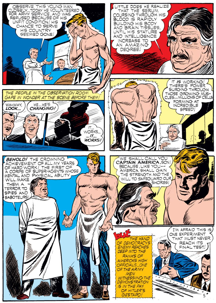 panel from Case #1 in Captain America Comics #1; Steve Rogers is injected with a miraculous serum that turns him from a scrawny to strapping and muscular