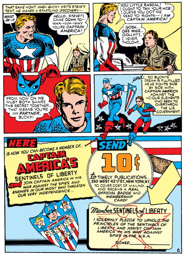 panel from Case #1 in Captain America Comics #1; Steve Rogers and Bucky meet