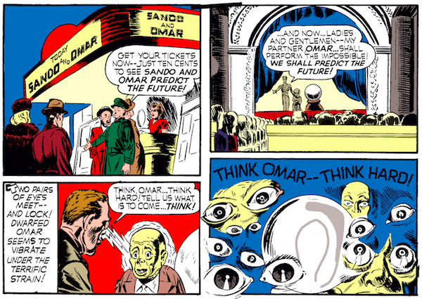 panel from Case #2 in Captain America Comics #1; Steve Rogers and Bucky go to see a fortune teller