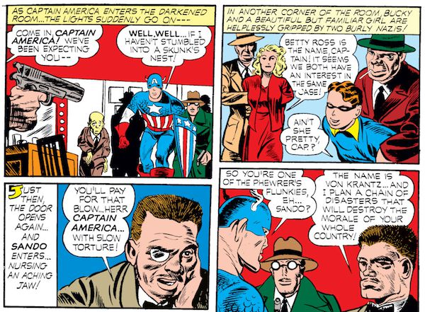 panel from Case #2 in Captain America Comics #1; Steve Rogers, Bucky, and secret agent Betty Ross are captured