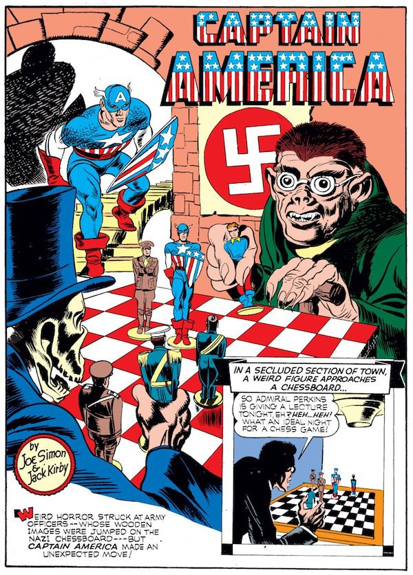 panel from Case #3 in Captain America Comics #1; a top-hatted skeleton plays chess with a Nazi