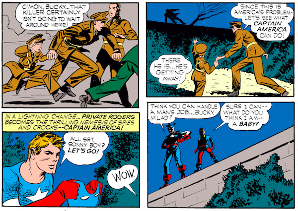 panel from Case #3 in Captain America Comics #1; Steve Rogers and Bucky go off in search of the culprit when an admiral is murdered