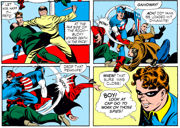 panel from Case #3 in Captain America Comics #1; Bucky is lured into a trap