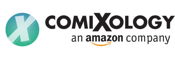 "Teal Blue Comixology ""X"" in Circle Logo next to ComiXology ""An Amazon Company"" Title https://www.comixology.com/free-comics"