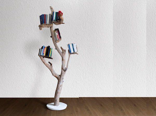 driftwood bookshelf tree