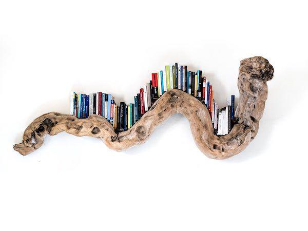driftwood snake bookshelf