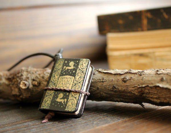fairy book necklace pendant