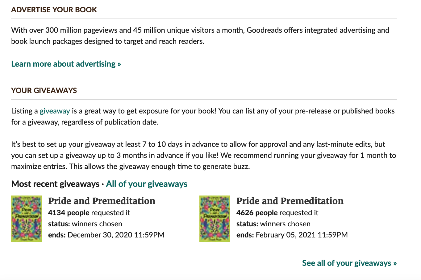 screenshot of the advertising and giveaways panel on Goodreads Author Dashboard