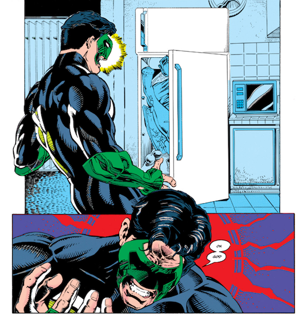 panel from Green Lantern #54: the Green Lantern returns home to find his girlfriend, Alex DeWitt, has been dismembered and stuffed in the refrigerator