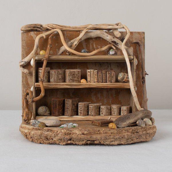 hidden library driftwood sculpture