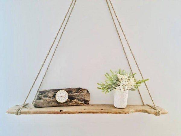 large driftwood rope shelf