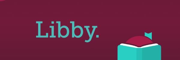 Plum Colored Header featuring the Blue Libby logo alongside a cartoon imagine of a head just poking over an open book https://www.overdrive.com/apps/libby/   AND https://resources.overdrive.com/library/marketing-outreach-community/libby-website-assets/    (edited together into composite image in canva)