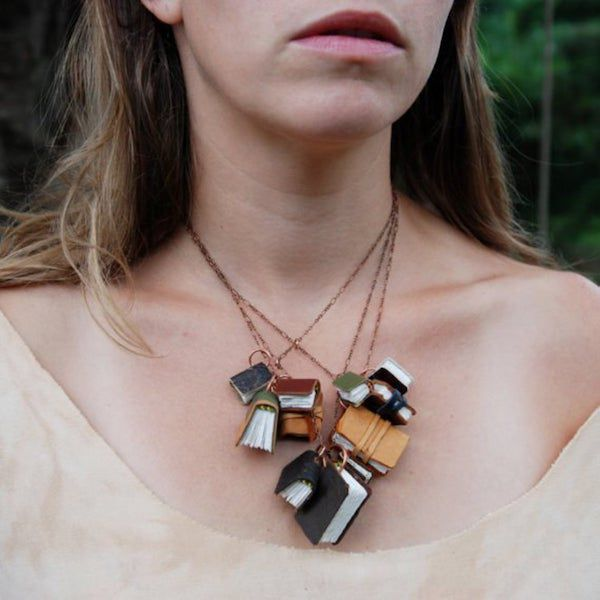 library necklace with overlapping book chains