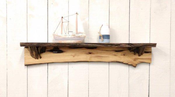 live edge driftwood wall shelf
