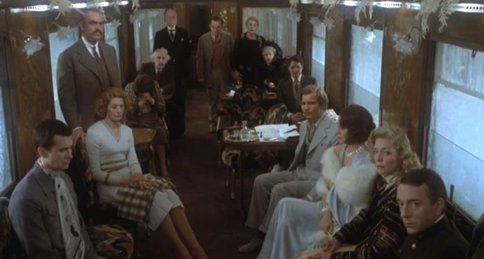 still frame from 1974 film adaptation of Agatha Christie's Murder on the Orient Express