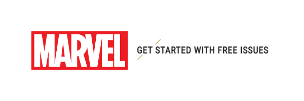 """Red and White Marvel Text Logo next to the phrase """"Get Started With Free Issues"""" https://www.marvel.com/comics/list/623/get_started_with_free_issues?&options%5Boffset%5D=0&totalcount=77 (logo and header images edited into composite in canva)"""
